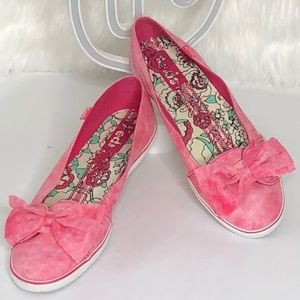 Keds pink bow tie distressed flats size:8